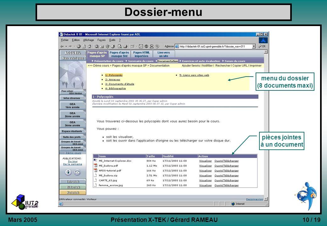Dossier-menu menu du dossier (8 documents maxi) pièces jointes