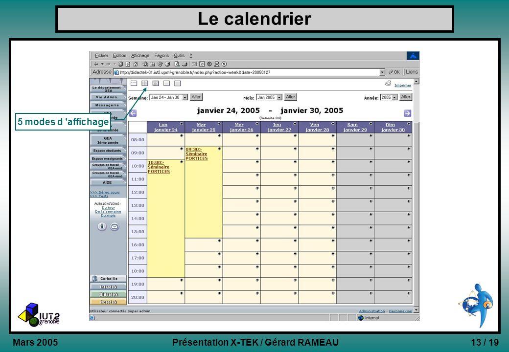 Le calendrier 5 modes d 'affichage Mars 2005