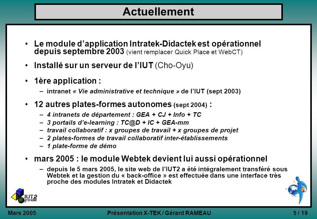 Actuellement Le module d'application Intratek-Didactek est opérationnel depuis septembre 2003 (vient remplacer Quick Place et WebCT)