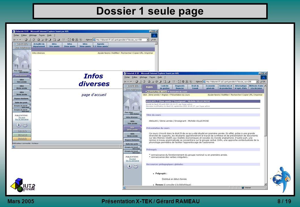 Dossier 1 seule page Mars 2005