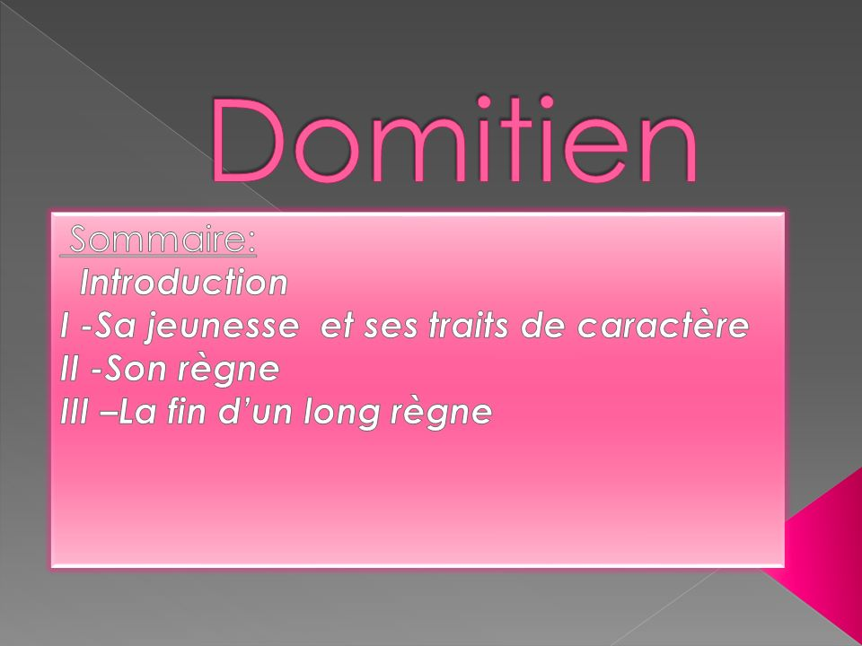 Domitien Sommaire: Introduction