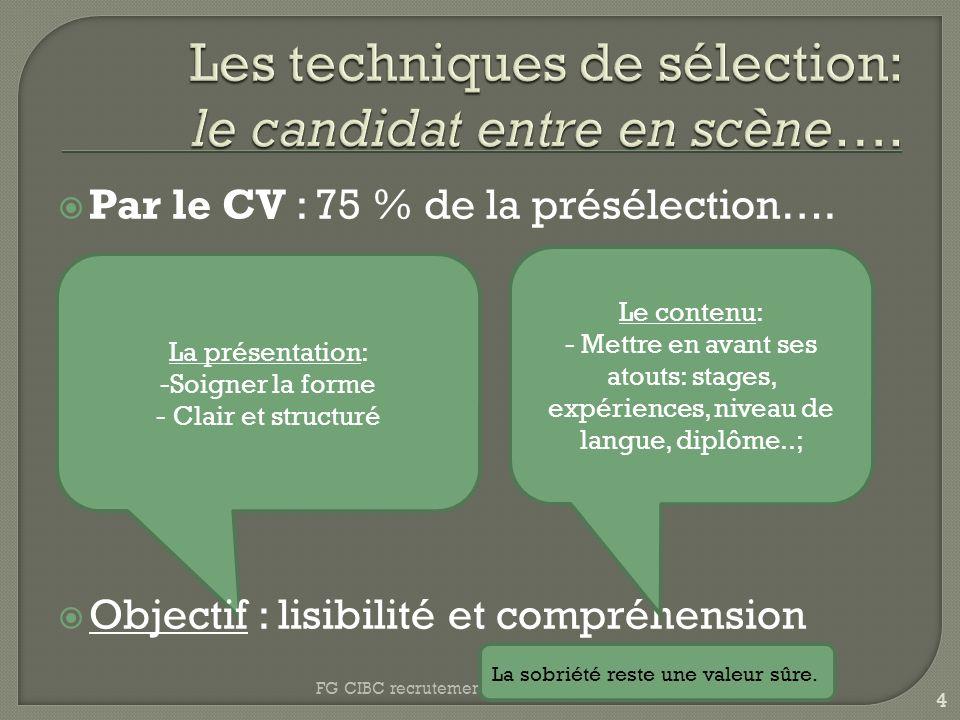 Les techniques de sélection: le candidat entre en scène….