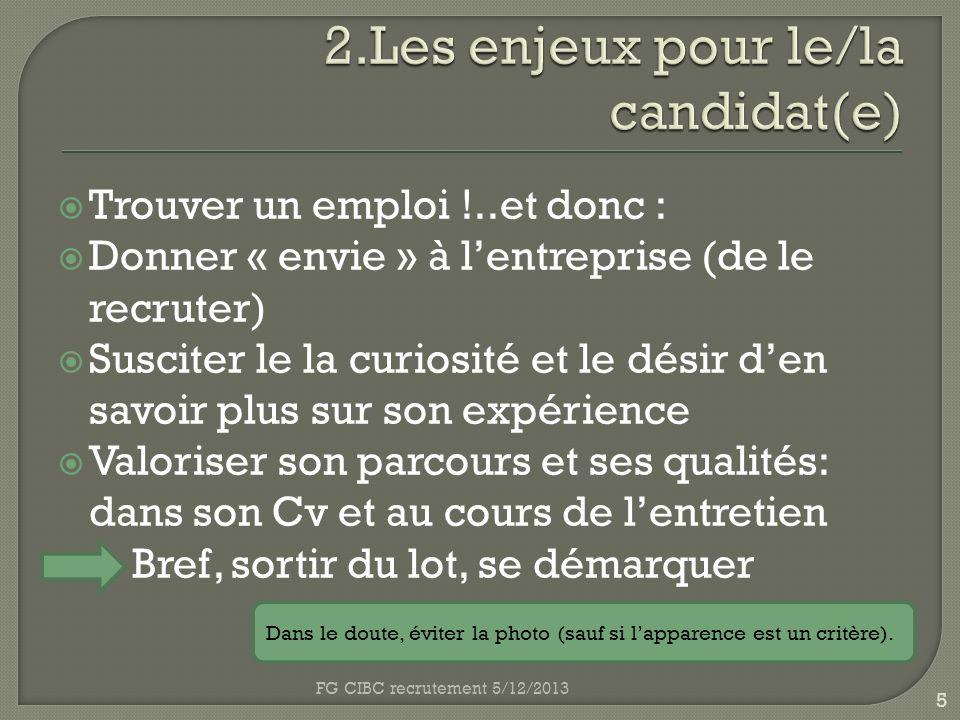 2.Les enjeux pour le/la candidat(e)