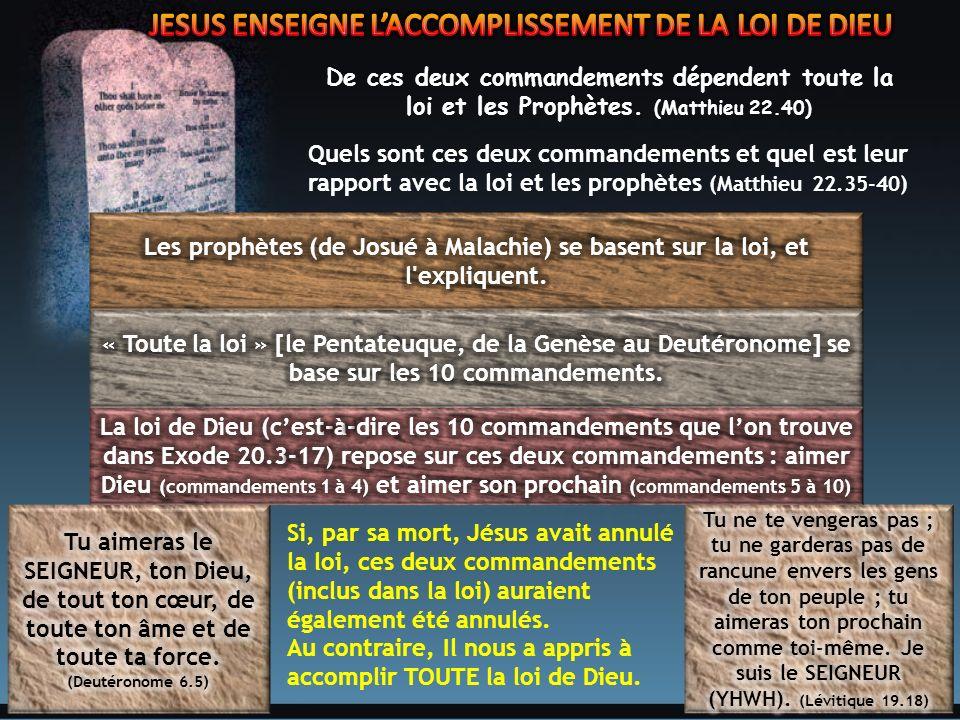 JESUS ENSEIGNE L'ACCOMPLISSEMENT DE LA LOI DE DIEU