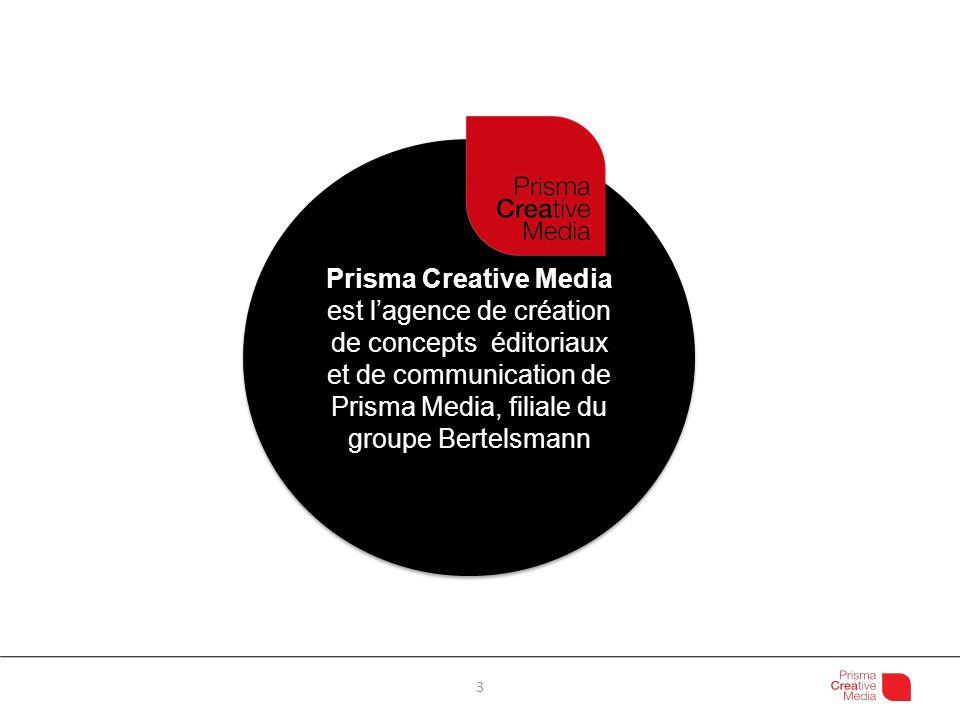 Prisma Creative Media est l'agence de création de concepts éditoriaux et de communication de Prisma Media, filiale du groupe Bertelsmann