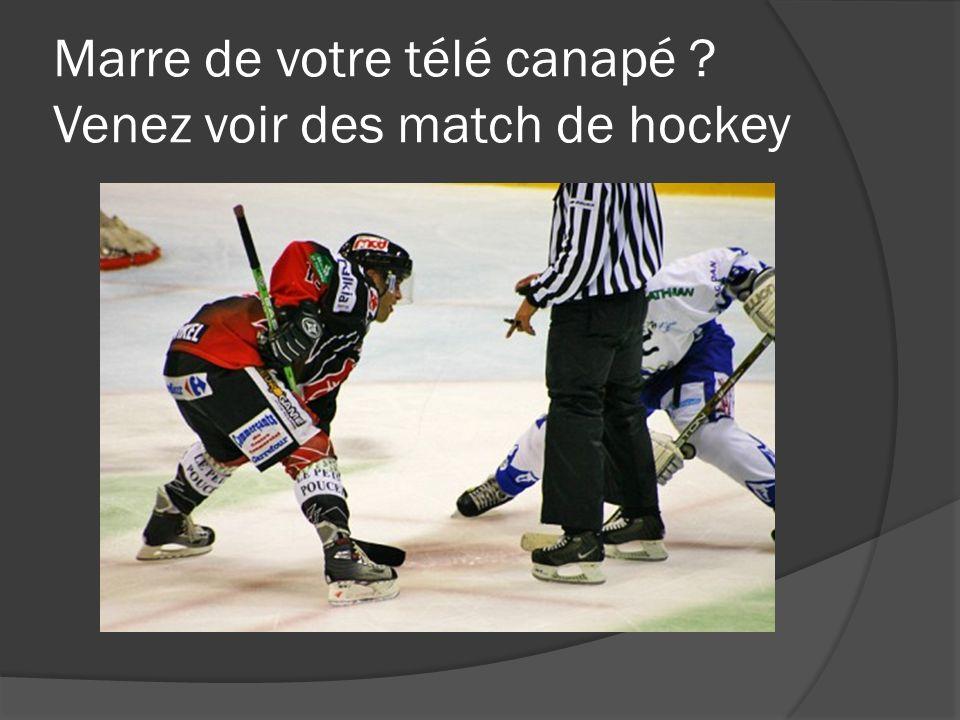 Marre de votre télé canapé Venez voir des match de hockey
