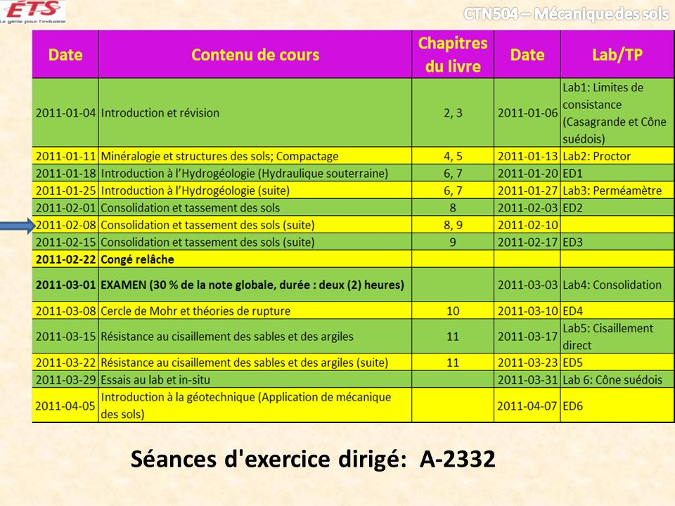 Séances d exercice dirigé: A-2332