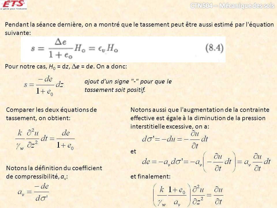 Pendant la séance dernière, on a montré que le tassement peut être aussi estimé par l équation suivante: