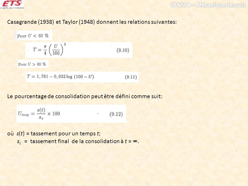 Casagrande (1938) et Taylor (1948) donnent les relations suivantes: