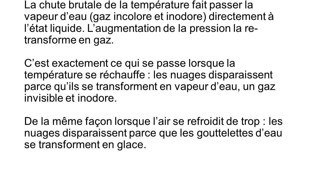 La chute brutale de la température fait passer la vapeur d'eau (gaz incolore et inodore) directement à l'état liquide.
