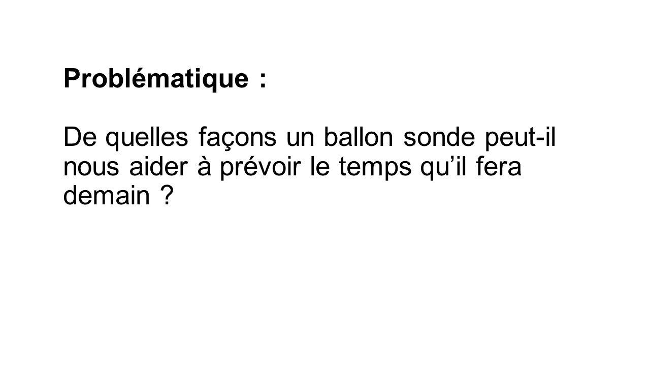 Problématique : De quelles façons un ballon sonde peut-il nous aider à prévoir le temps qu'il fera demain