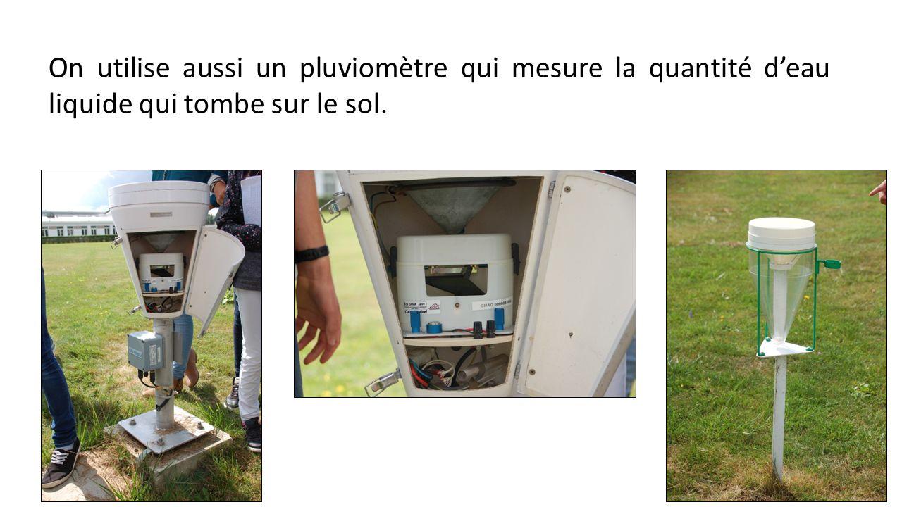 On utilise aussi un pluviomètre qui mesure la quantité d'eau liquide qui tombe sur le sol.