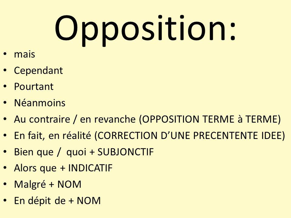 Opposition: mais Cependant Pourtant Néanmoins