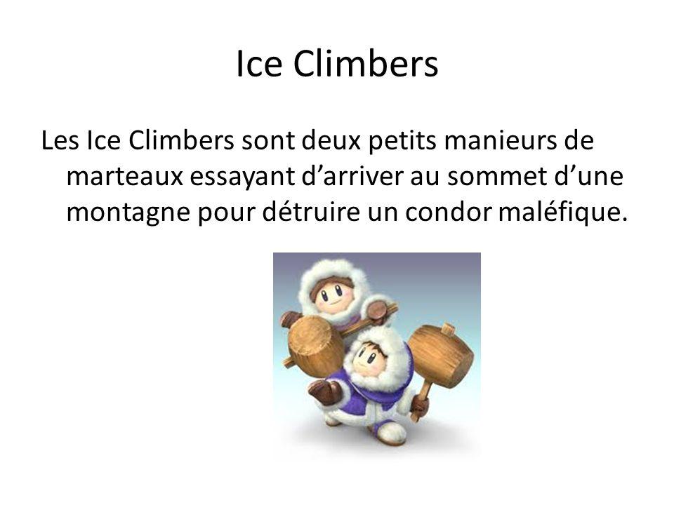 Ice Climbers Les Ice Climbers sont deux petits manieurs de marteaux essayant d'arriver au sommet d'une montagne pour détruire un condor maléfique.