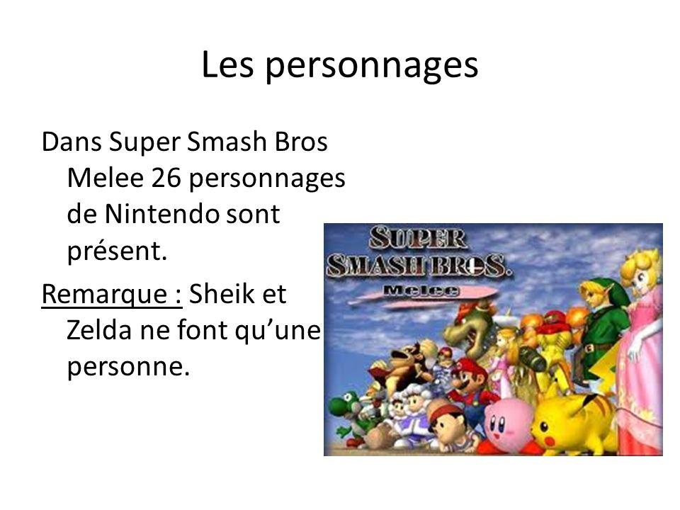 Les personnages Dans Super Smash Bros Melee 26 personnages de Nintendo sont présent.