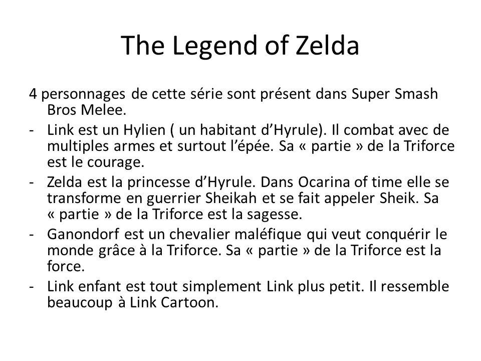 The Legend of Zelda 4 personnages de cette série sont présent dans Super Smash Bros Melee.