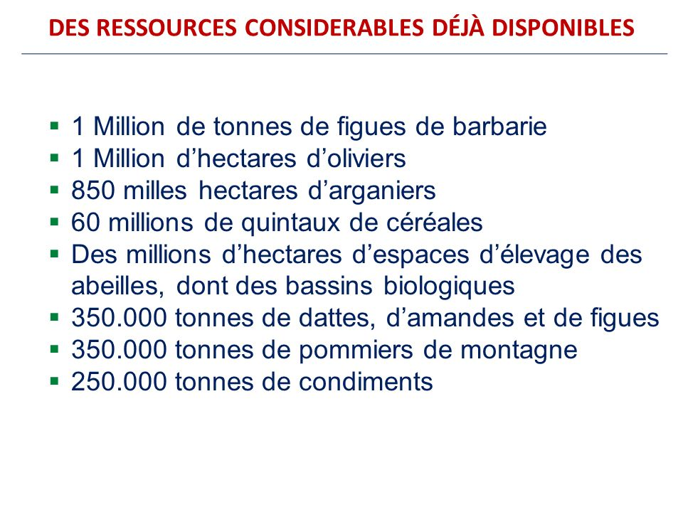 DES RESSOURCES CONSIDERABLES DÉJÀ DISPONIBLES