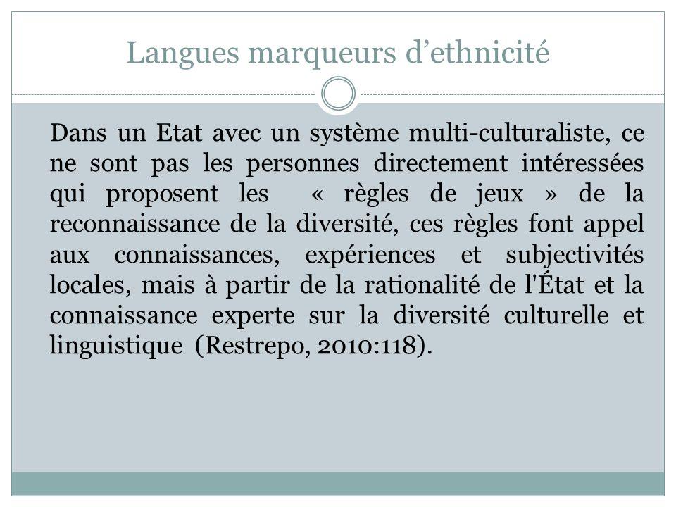 Langues marqueurs d'ethnicité