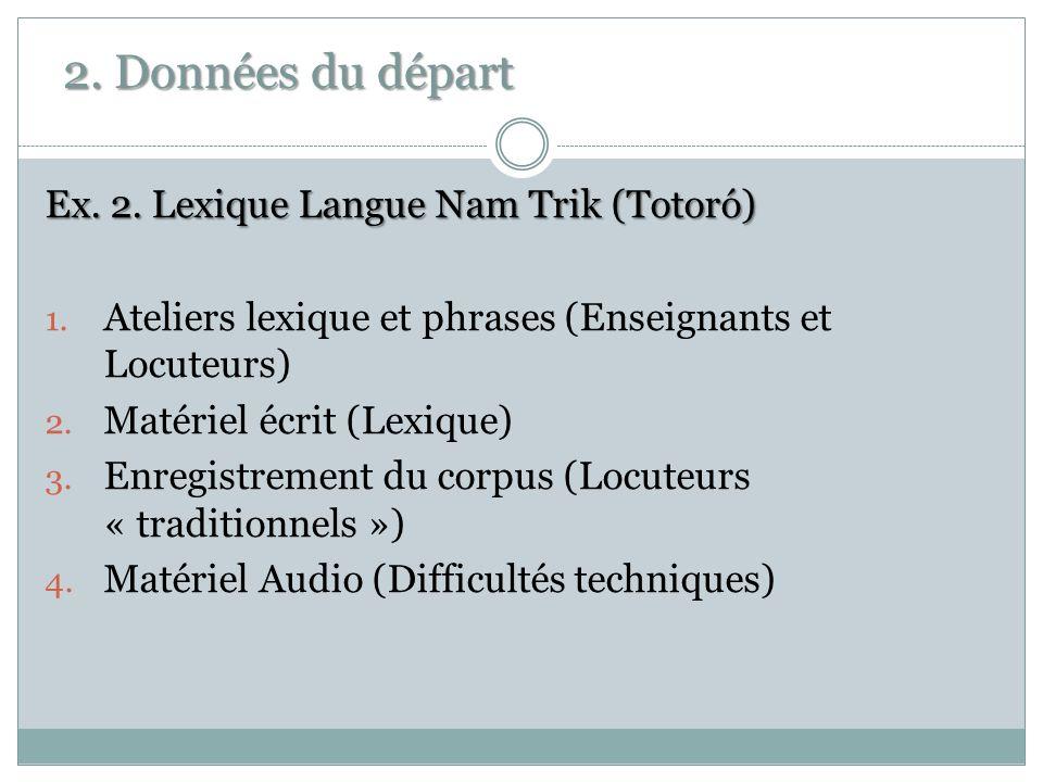 2. Données du départ Ex. 2. Lexique Langue Nam Trik (Totoró)