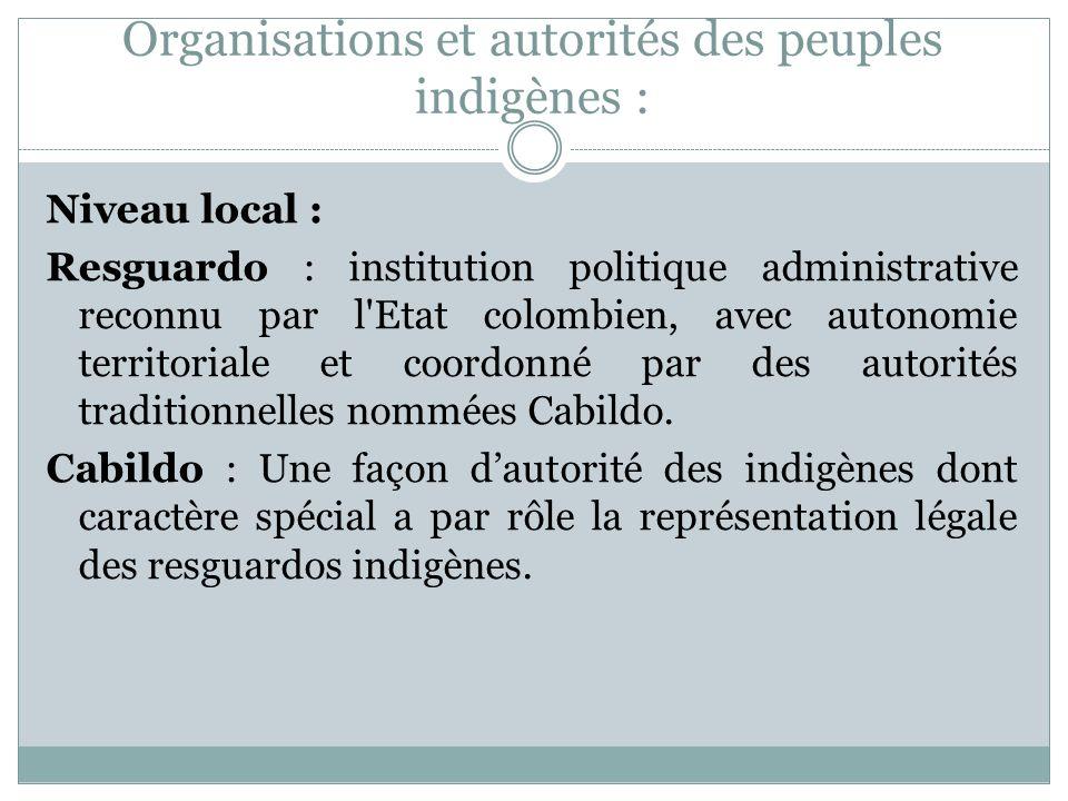 Organisations et autorités des peuples indigènes :