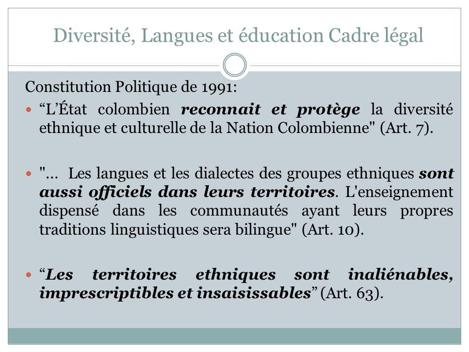 Diversité, Langues et éducation Cadre légal