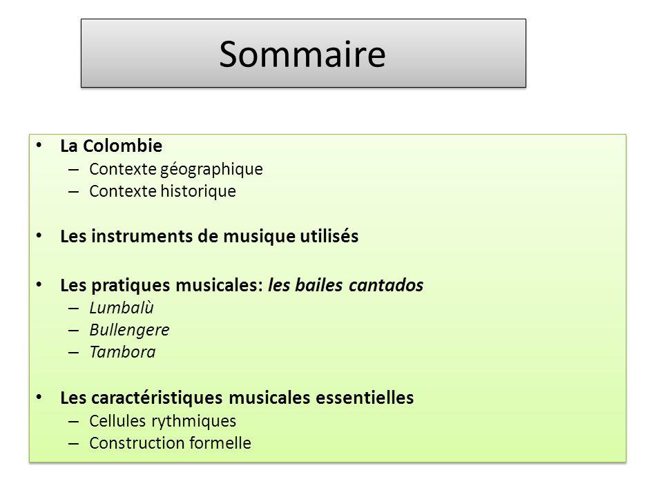 Sommaire La Colombie Les instruments de musique utilisés