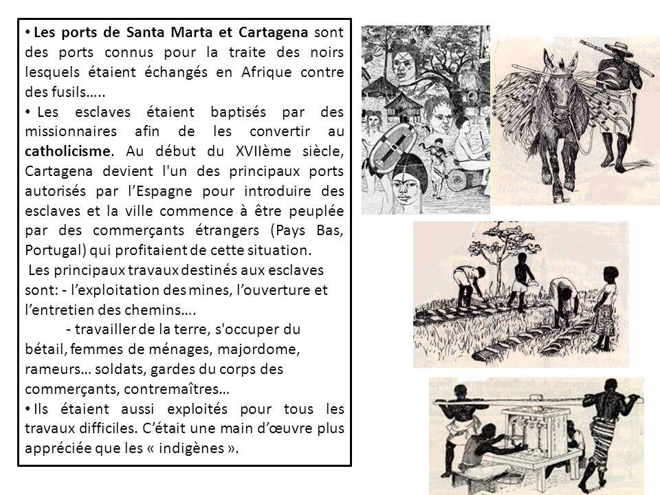 Les ports de Santa Marta et Cartagena sont des ports connus pour la traite des noirs lesquels étaient échangés en Afrique contre des fusils…..