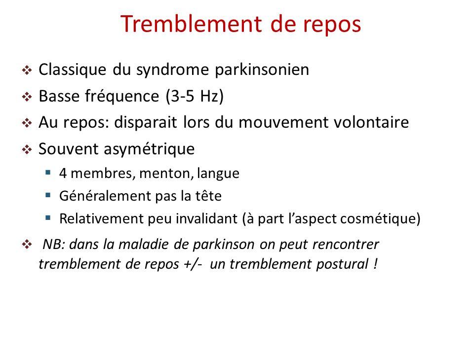 Tremblement de repos Classique du syndrome parkinsonien