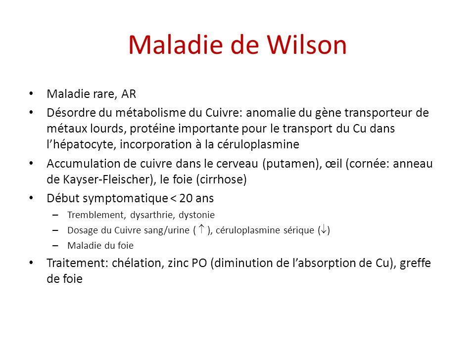 Maladie de Wilson Maladie rare, AR