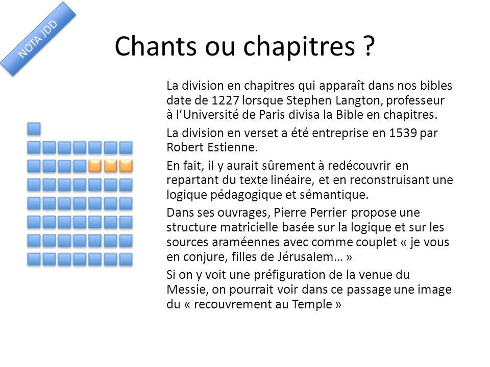 Chants ou chapitres NOTA JDD.