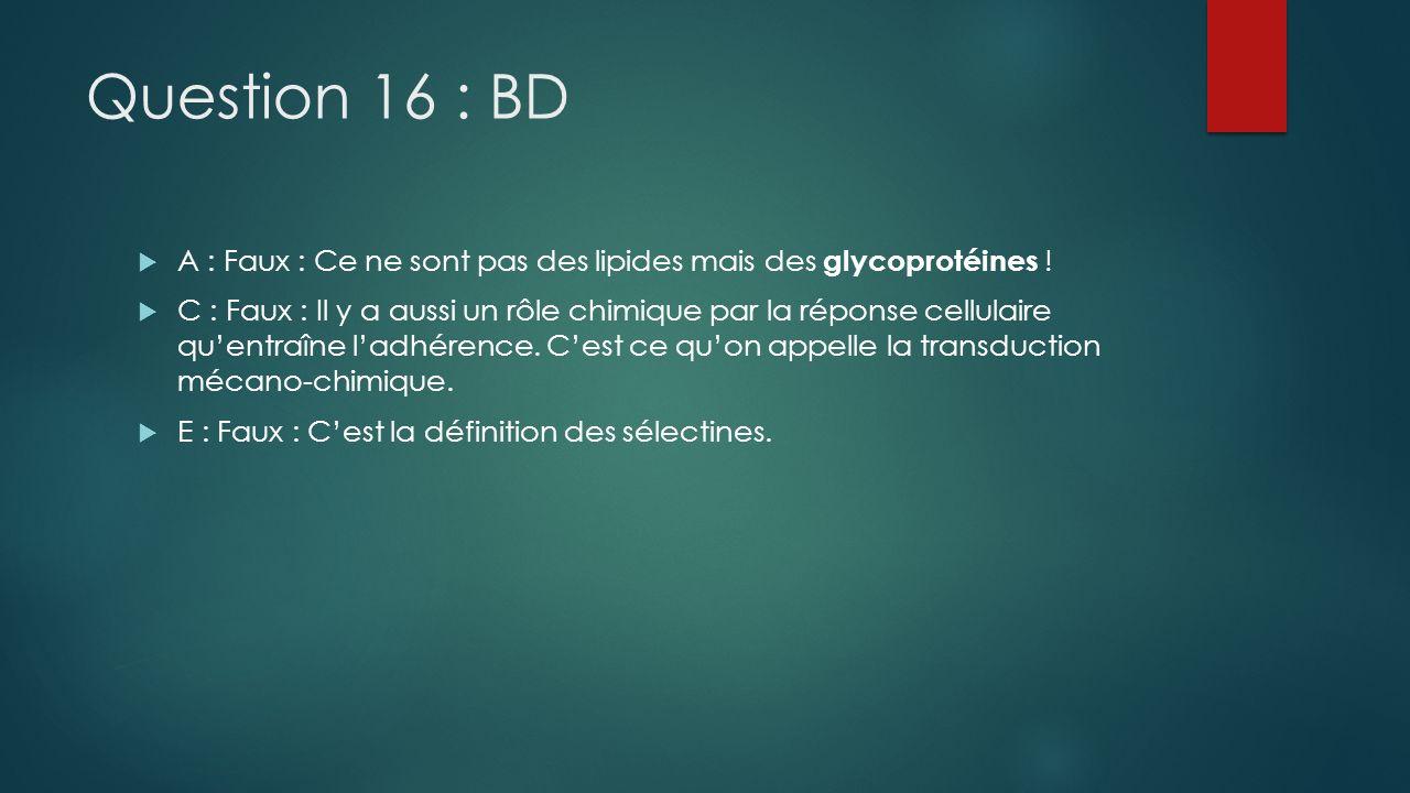 Question 16 : BD A : Faux : Ce ne sont pas des lipides mais des glycoprotéines !