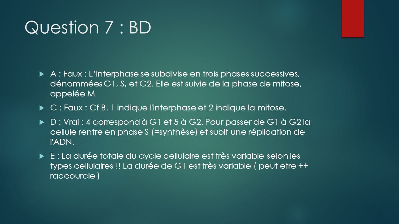 Question 7 : BD