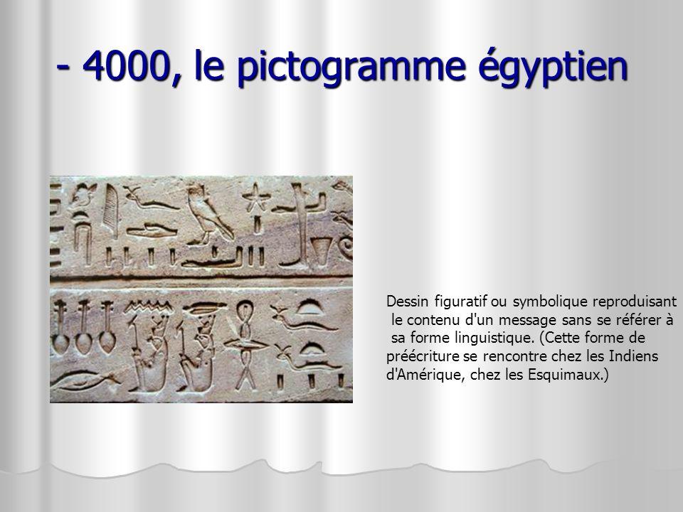- 4000, le pictogramme égyptien