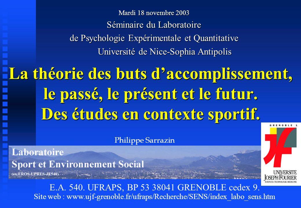 Mardi 18 novembre 2003 Séminaire du Laboratoire. de Psychologie Expérimentale et Quantitative. Université de Nice-Sophia Antipolis.