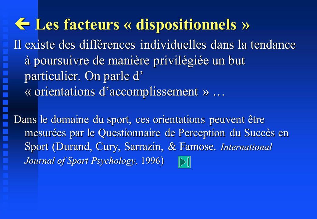  Les facteurs « dispositionnels »
