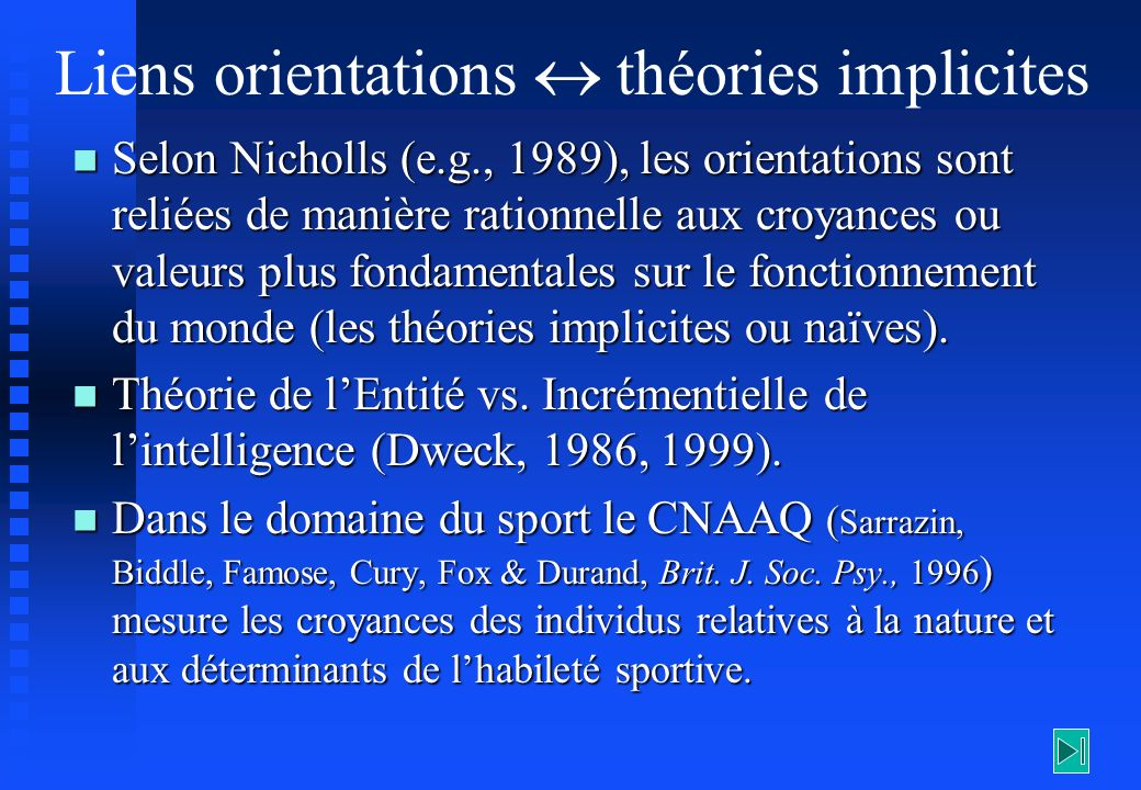 Liens orientations  théories implicites