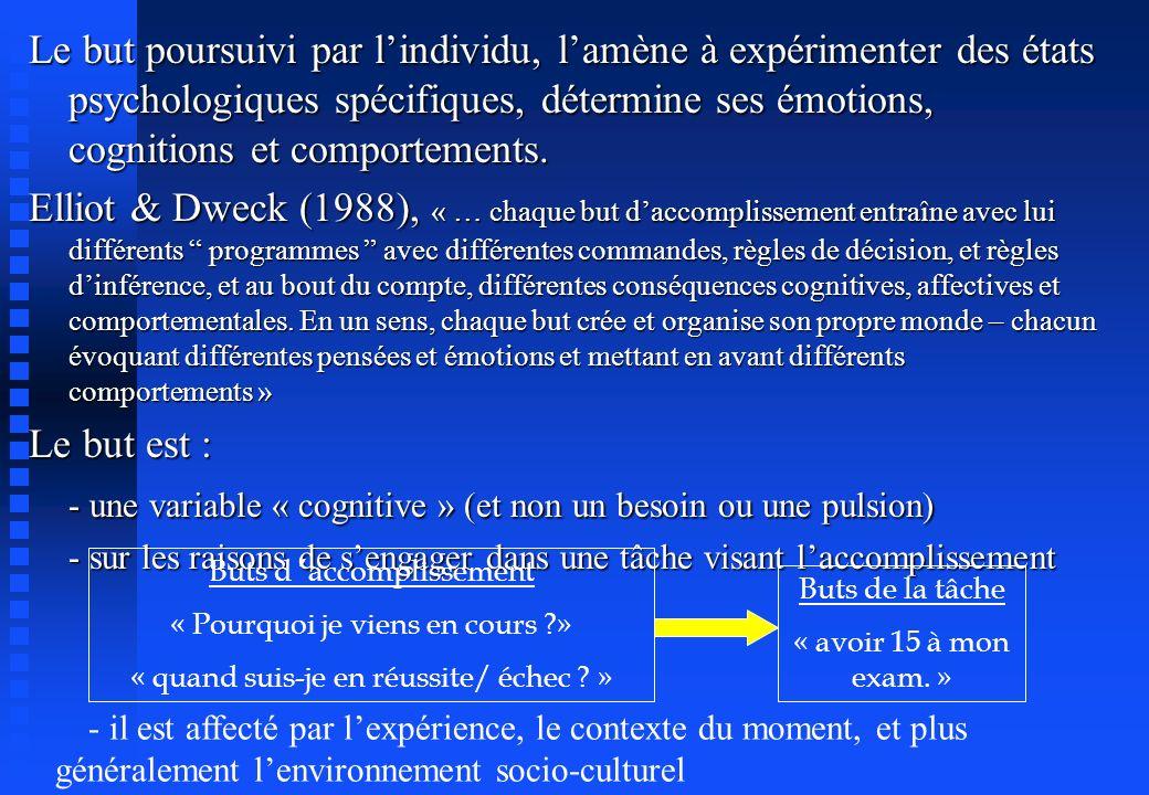 - une variable « cognitive » (et non un besoin ou une pulsion)