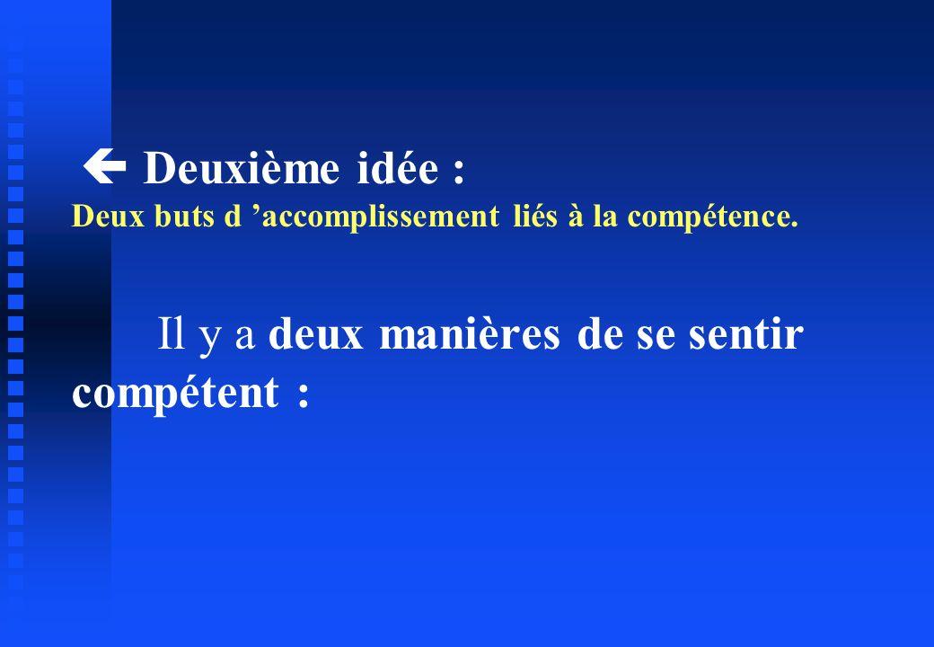  Deuxième idée : Deux buts d 'accomplissement liés à la compétence