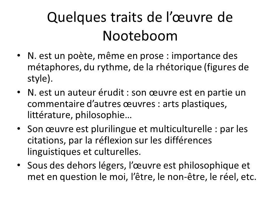 Quelques traits de l'œuvre de Nooteboom