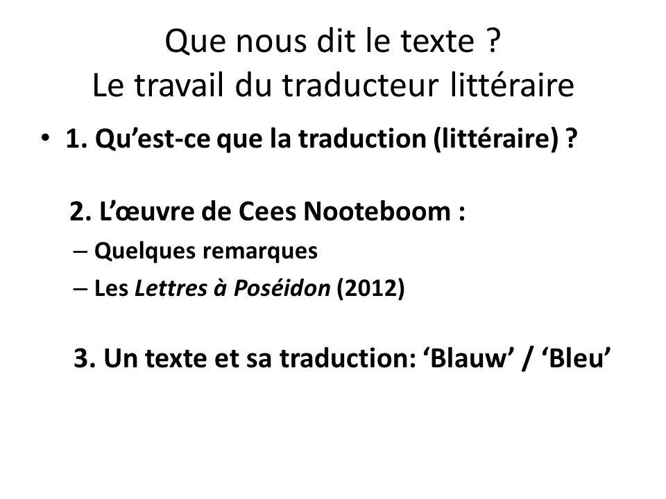 Que nous dit le texte Le travail du traducteur littéraire