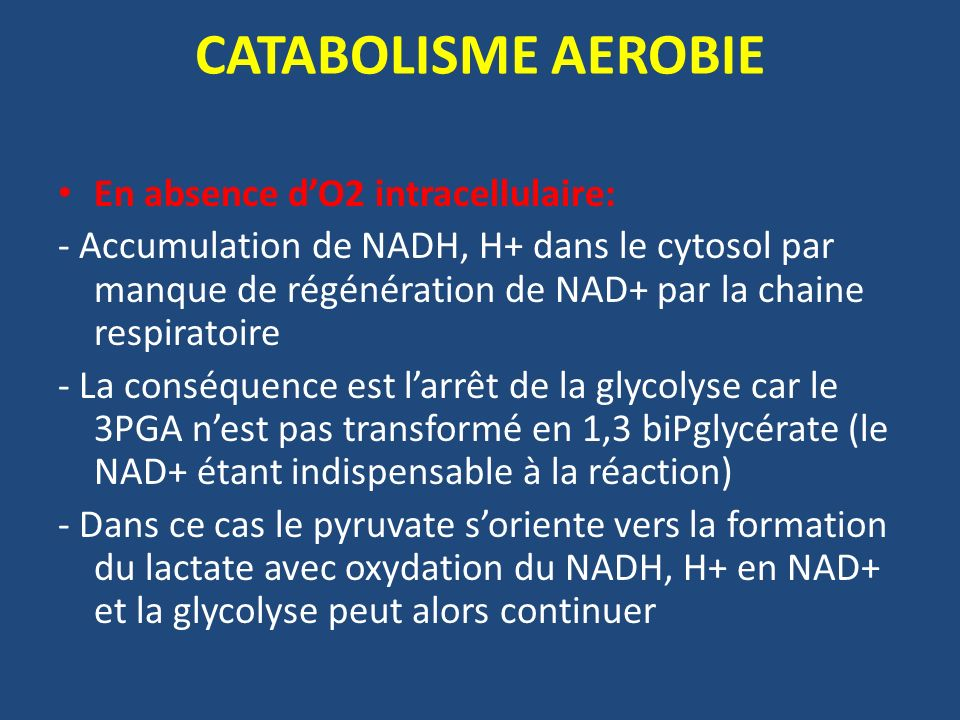 CATABOLISME AEROBIE En absence d'O2 intracellulaire: