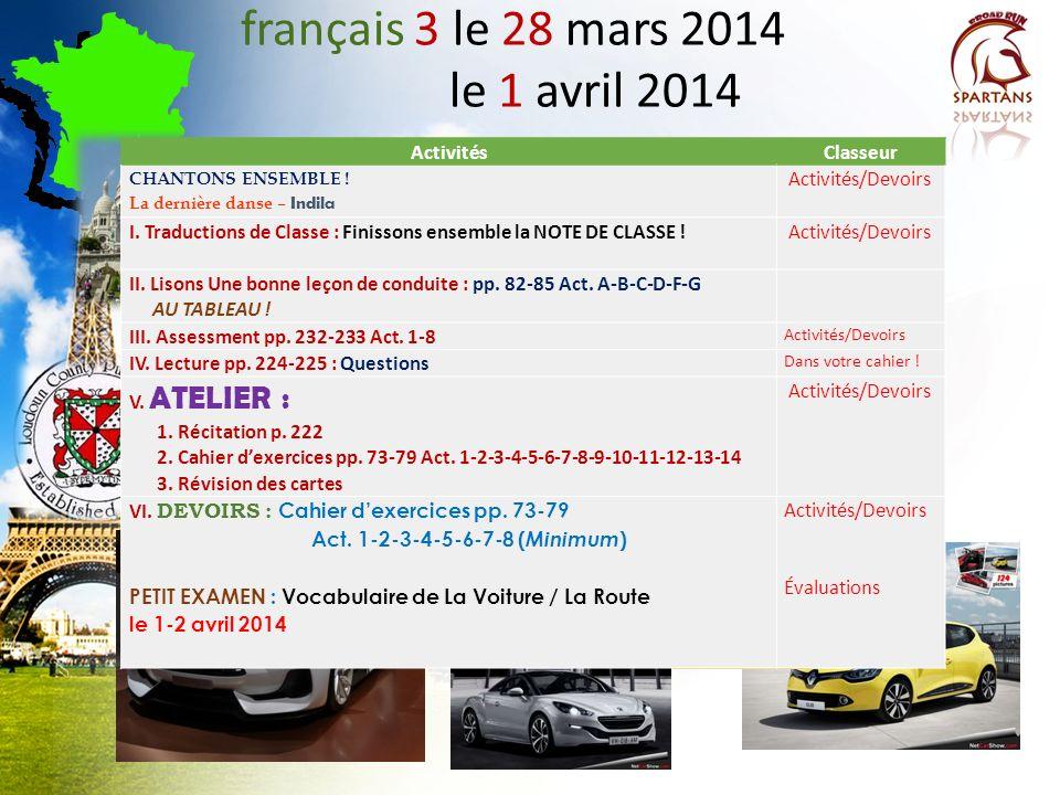français 3 le 28 mars 2014 le 1 avril 2014 Activités Classeur