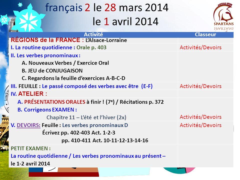 français 2 le 28 mars 2014 le 1 avril 2014 Activité Classeur