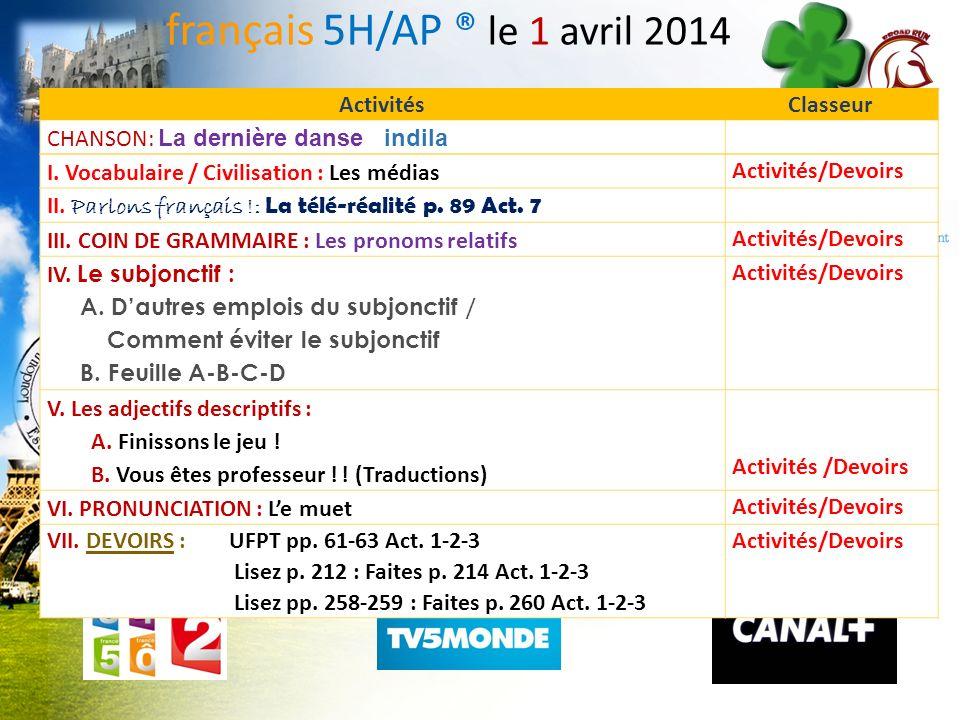 français 5H/AP ® le 1 avril 2014