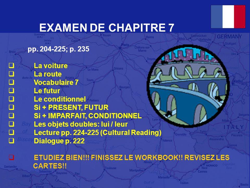 EXAMEN DE CHAPITRE 7 pp. 204-225; p. 235 La voiture La route