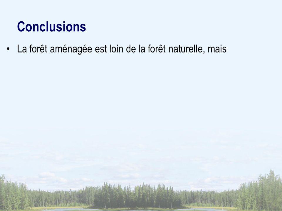Conclusions La forêt aménagée est loin de la forêt naturelle, mais