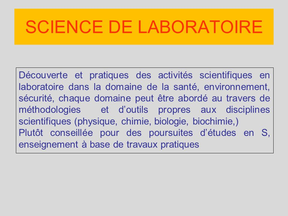 SCIENCE DE LABORATOIRE