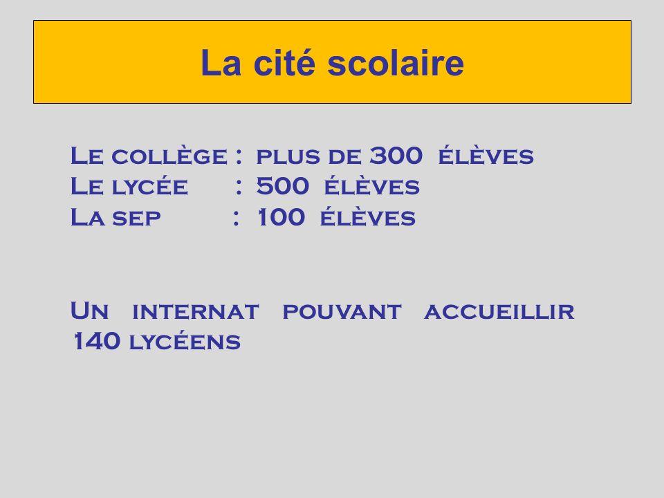 La cité scolaire Le collège : plus de 300 élèves Le lycée : 500 élèves