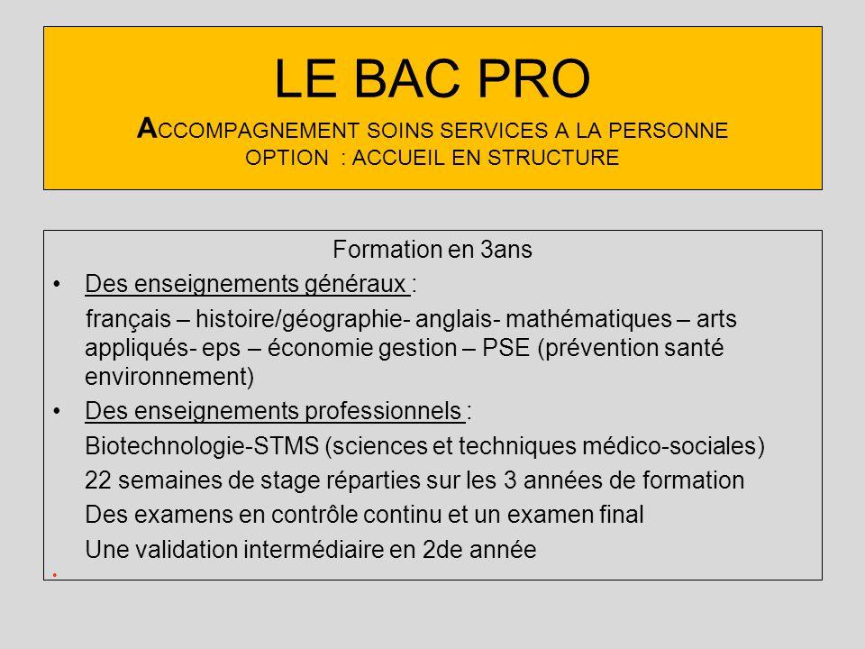 LE BAC PRO ACCOMPAGNEMENT SOINS SERVICES A LA PERSONNE OPTION : ACCUEIL EN STRUCTURE