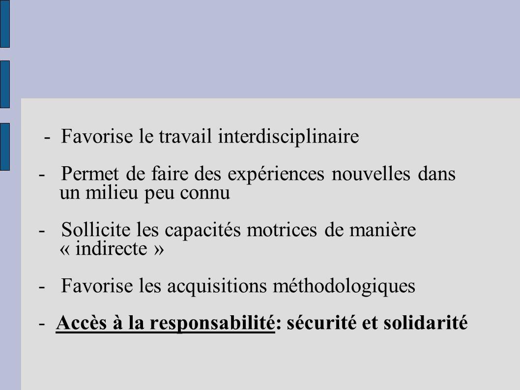 - Favorise le travail interdisciplinaire